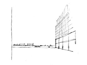 Competition design for a site in the north of Amsterdam. A building complex with retail spaces and appartments, around a public square and a boardwalk along the water.