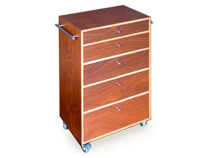 Chest of drawers in utile plywood with stainless steel fittings.