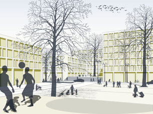 Design for the urban planning of the renovation and extension of Holma in Malmö, Sweden, a sixties suburb.In collaboration with Christina Behrendt, Francesca Altavilla and Vincent Tuinema.
